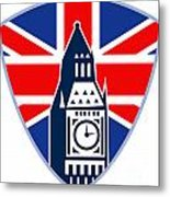 Runner Sprinter Start British Flag Shield Metal Print