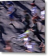 Runners Along Street In A Marathon Blurred And Abstract Metal Print