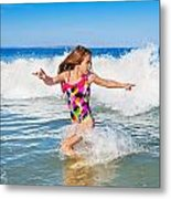 Running From The Waves Metal Print