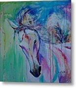 Running In Shades Of Pink And Blue Metal Print