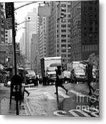 Running In The Rain - New York City Street Scene Metal Print