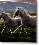 Running Together Metal Print