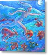 Running With The Hare Metal Print