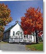 Rural Church In Autumn Metal Print