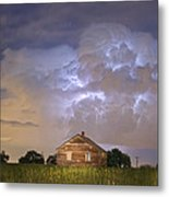 Rural Country Cabin Lightning Storm Metal Print
