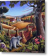 Rural Country Farm Life Landscape Folk Art Raccoon Squirrel Rustic Americana Scene  Metal Print by Walt Curlee