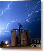 Rural Lightning Storm Metal Print