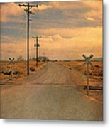 Rural Railroad Crossing Metal Print