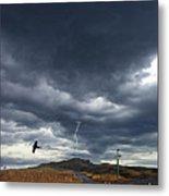 Rural Road In Lightning Storm Metal Print