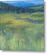 Rural Valley Landscape Colorful Original Painting Washington State Water Mountains K. Joann Russell Metal Print