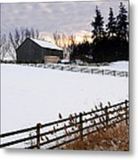 Rural Winter Landscape Metal Print