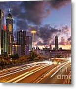 Rush Hour During Sunset In Hong Kong Metal Print