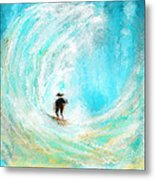 Rushing Beauty- Surfing Art Metal Print