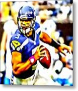 Russell Wilson In The Pocket Metal Print