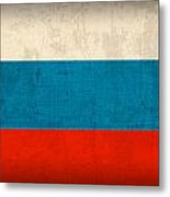 Russia Flag Distressed Vintage Finish Metal Print by Design Turnpike