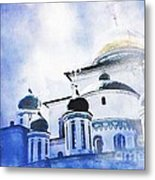 Russian Church In A Blue Cloud Metal Print