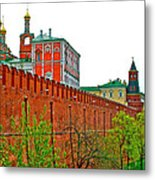 Russian Orthodox Church From Park Outside The Kremlin In Moscow-russia Metal Print