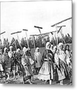 Russian Women Go To The Fields Metal Print