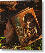 Rusted Can Of Leaves Metal Print