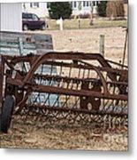 Rusted Hay Rake Metal Print