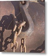 Rusted Hook And Chain Metal Print