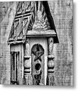 Rustic Birdhouse - Bw Metal Print