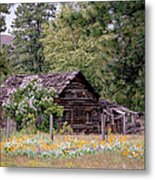 Rustic Cabin In The Mountains Metal Print