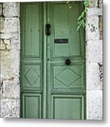 Rustic Green Door With Vines Metal Print