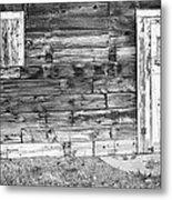 Rustic Old Colorado Barn Door And Window Bw Metal Print