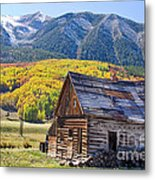 Rustic Rural Colorado Cabin Autumn Landscape Metal Print