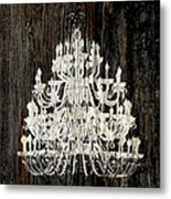 Rustic Shabby Chic White Chandelier On Wood Metal Print