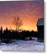 Rustic Winter Sunrise Metal Print