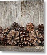 Rustic Wood With Pine Cones Metal Print by Elena Elisseeva