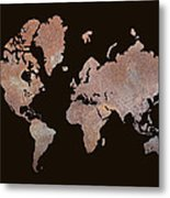 Rustic World Map Metal Print