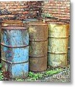 Rusting Oil Barrels Metal Print