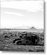 Rusty Car 3 - Black And White Metal Print