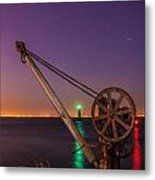 Rusty Davit And Two Lighthouses Metal Print by Semmick Photo