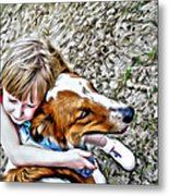 Rusty Dog Love Metal Print