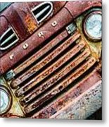 Rusty Ford Grill Metal Print