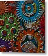 Rusty Gears On Grunge Texture Background Metal Print
