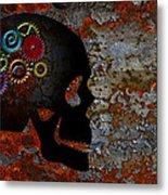 Rusty Gears On Skull Grunge Texture Background Metal Print