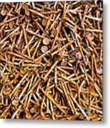 Rusty Nails Abstract Art Metal Print
