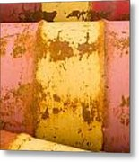 Rusty Oil Barrels Yellow Red Background Pattern Metal Print