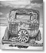 Rusty Old Car In The Snow Metal Print