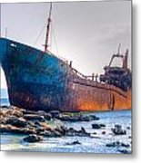Rusty Old Shipwreck Aground  On Rocky Reef Metal Print