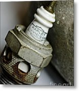 Rusty Old Spark Plug  5  Metal Print by Wilma  Birdwell