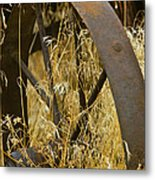 Rusty Old Wheel And Yellow Grasses Metal Print