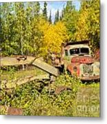 Rusty Truck And Grader Forgotten In Fall Forest Metal Print