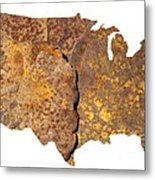 Rusty Usa Map Metal Print