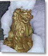 Ryukyuan Shisa Dog With Snow-hawk Metal Print